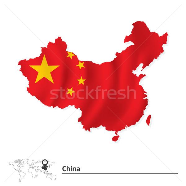 Kaart China vlag textuur aarde kleur Stockfoto © ojal