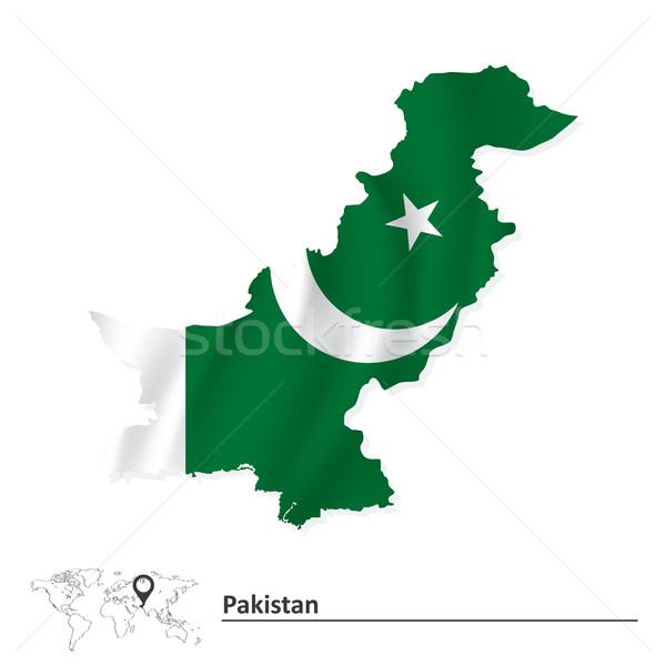 Harita Pakistan bayrak arka plan toprak imzalamak Stok fotoğraf © ojal