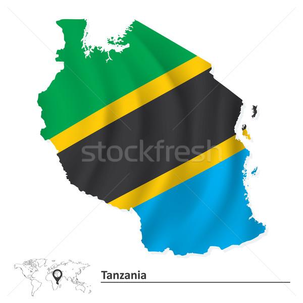 Harita Tanzanya bayrak mavi Afrika siluet Stok fotoğraf © ojal