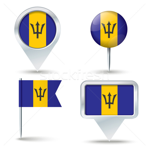 Kaart vlag Barbados business weg witte Stockfoto © ojal