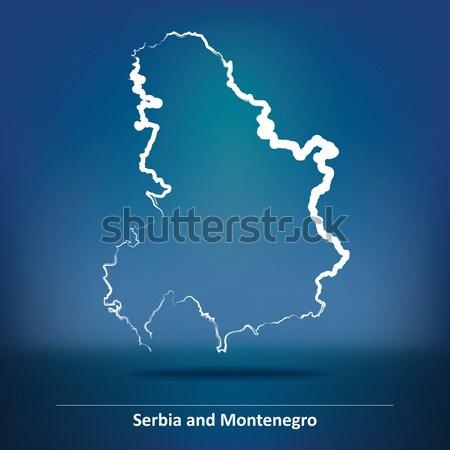 Rabisco mapa Catar viajar silhueta traçar Foto stock © ojal