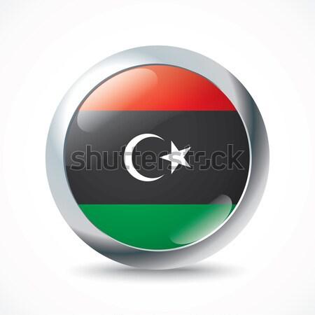 Libia banderą przycisk księżyc malarstwo czerwony Zdjęcia stock © ojal