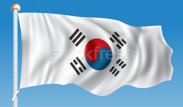 флаг Южная Корея текстуры путешествия Живопись черный Сток-фото © ojal