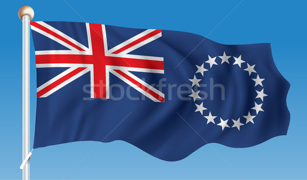 Vlag kok eilanden wereld kruis kunst Stockfoto © ojal