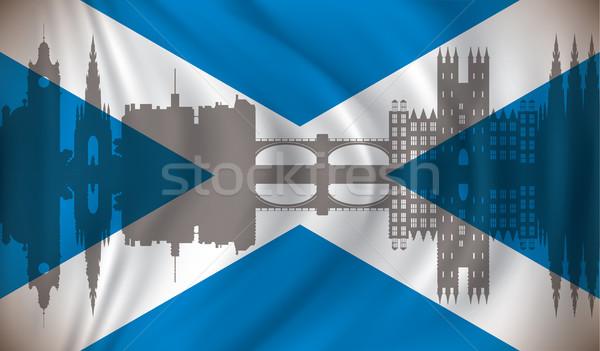 フラグ スコットランド スカイライン ビジネス 家 市 ストックフォト © ojal