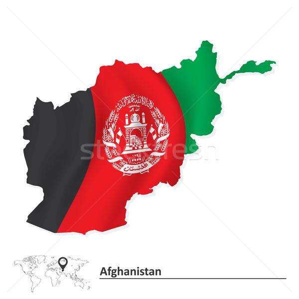 карта Афганистан флаг знак силуэта цвета Сток-фото © ojal
