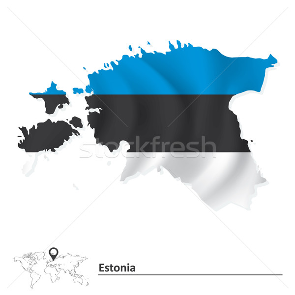 Map of Estonia with flag Stock photo © ojal