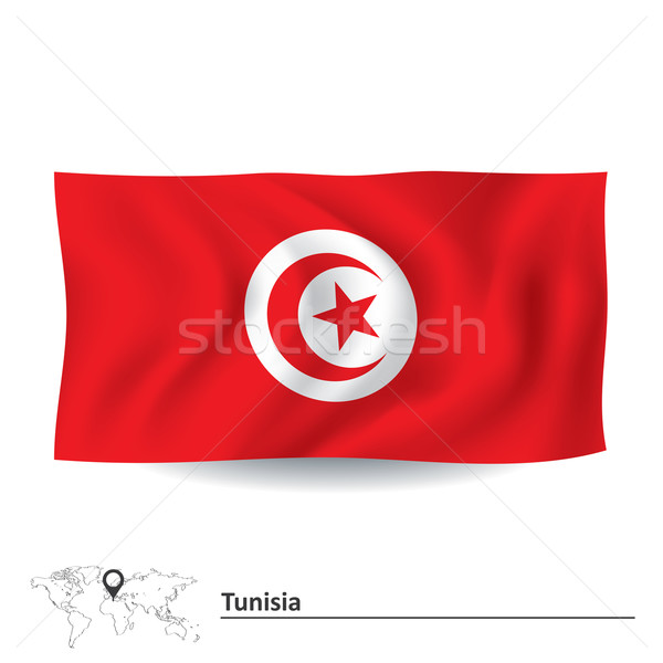 Bandeira Tunísia lua fundo assinar estrela Foto stock © ojal