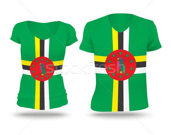 Vlag shirt ontwerp Dominica vrouw man Stockfoto © ojal