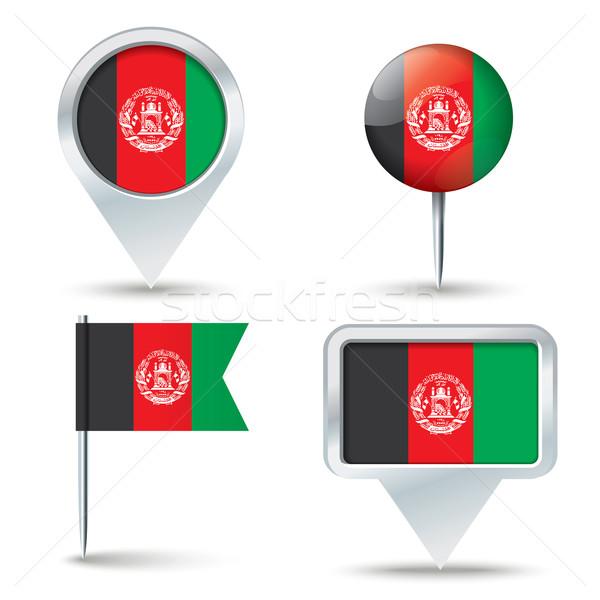 Karte Flagge Afghanistan Business Straße weiß Stock foto © ojal
