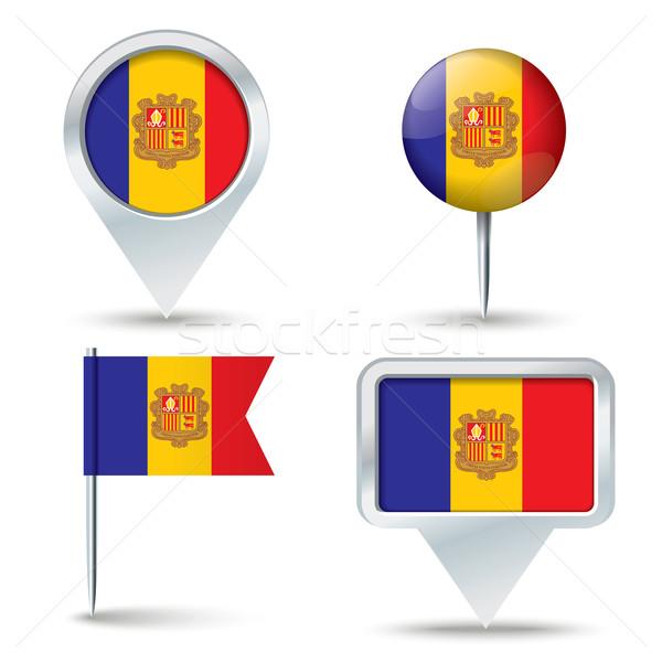 Karte Flagge Andorra Business Straße weiß Stock foto © ojal