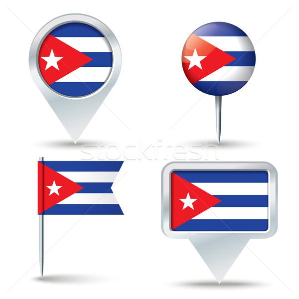 Stockfoto: Kaart · vlag · Cuba · business · weg · witte