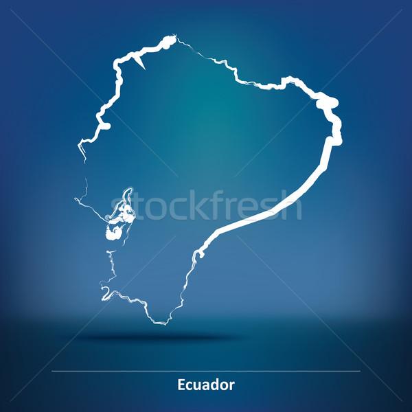いたずら書き 地図 エクアドル 世界 背景 芸術 ストックフォト © ojal