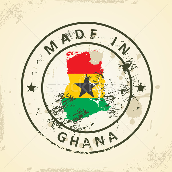 Stamp with map flag of Ghana Stock photo © ojal
