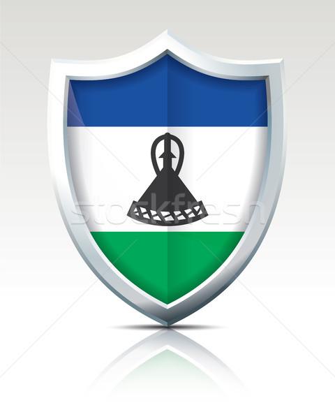 Tarcza banderą Lesotho tekstury projektu niebieski Zdjęcia stock © ojal