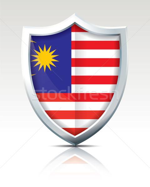 Kalkan bayrak Malezya doku harita ay Stok fotoğraf © ojal