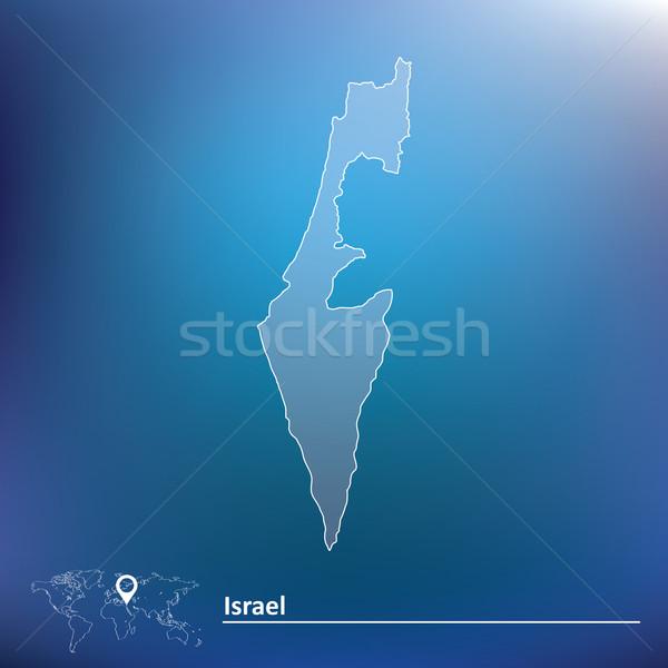Harita İsrail doku mavi seyahat star Stok fotoğraf © ojal