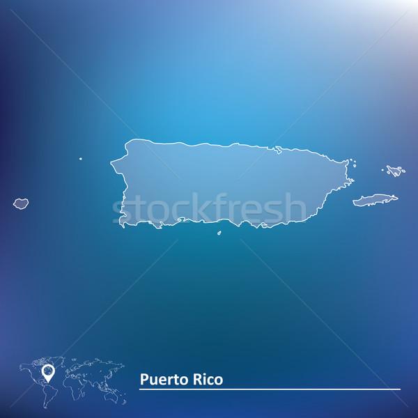 Kaart Puerto Rico Blauw Rood silhouet land Stockfoto © ojal