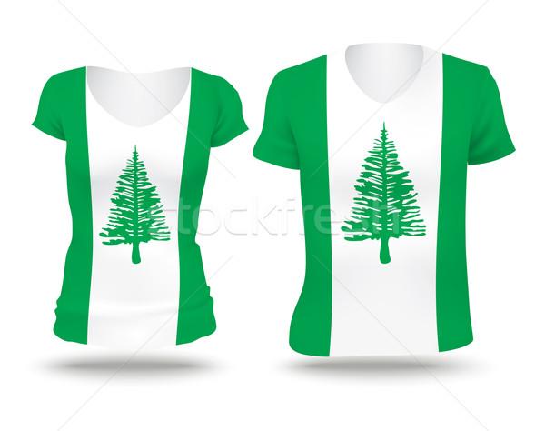 Flagge Shirt Design Norfolk Insel Frau Stock foto © ojal