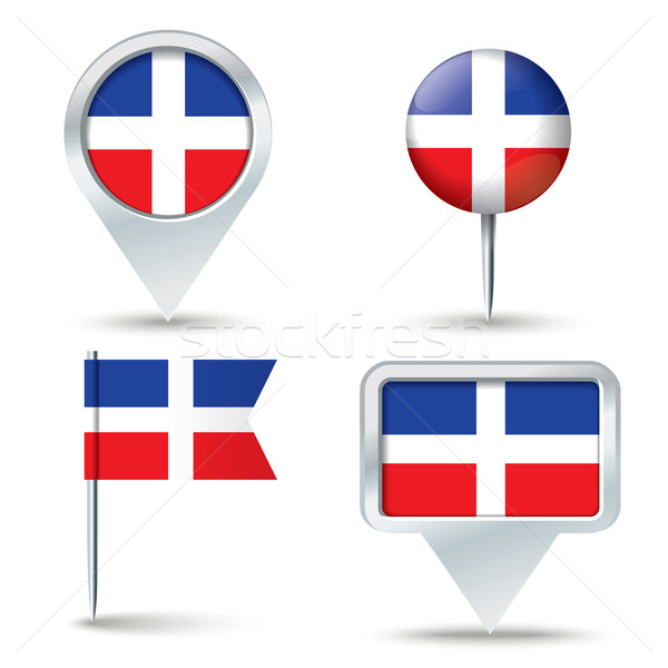 Map pins with flag of Dominican Republic Stock photo © ojal
