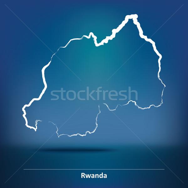 Doodle carte Rwanda texture star Afrique Photo stock © ojal