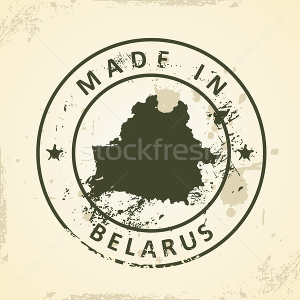 Stamp with map of Belarus Stock photo © ojal