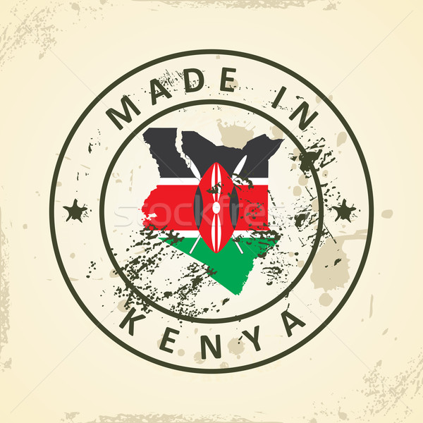 Stamp with map flag of Kenya Stock photo © ojal