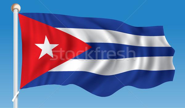 Stockfoto: Vlag · Cuba · textuur · achtergrond · kunst · teken