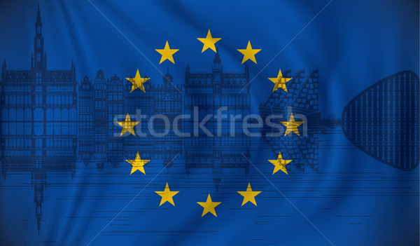 Stok fotoğraf: Bayrak · avrupa · sendika · ufuk · çizgisi · ev · ağaç