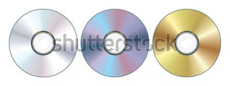 Drie compact disc realistisch Blauw film digitale Stockfoto © ojal