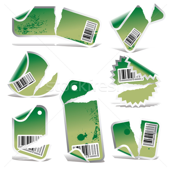 green ripped tag and sticker set with bar codes Stock photo © ojal