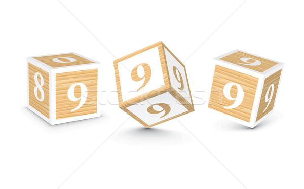 Stock photo: Vector number 9 wooden alphabet blocks