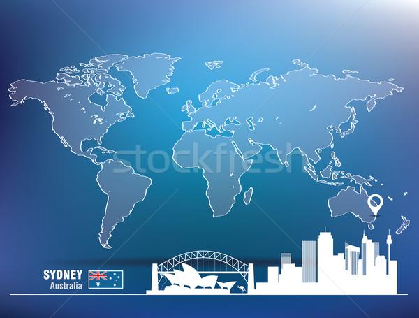 Kaart pin Sydney skyline gebouw stad Stockfoto © ojal