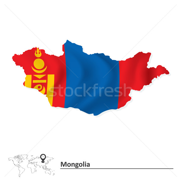 Map of Mongolia with flag Stock photo © ojal
