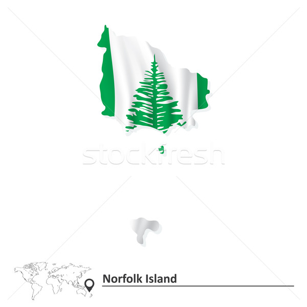 Map of Norfolk Island with flag Stock photo © ojal