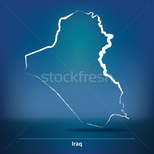Rabisco mapa Iraque projeto mundo fundo Foto stock © ojal