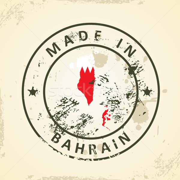 Damga harita bayrak Bahreyn grunge sanat Stok fotoğraf © ojal