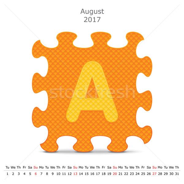 Août puzzle calendrier affaires papier art Photo stock © ojal
