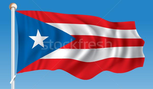 Vlag Puerto Rico kaart Blauw Rood silhouet Stockfoto © ojal