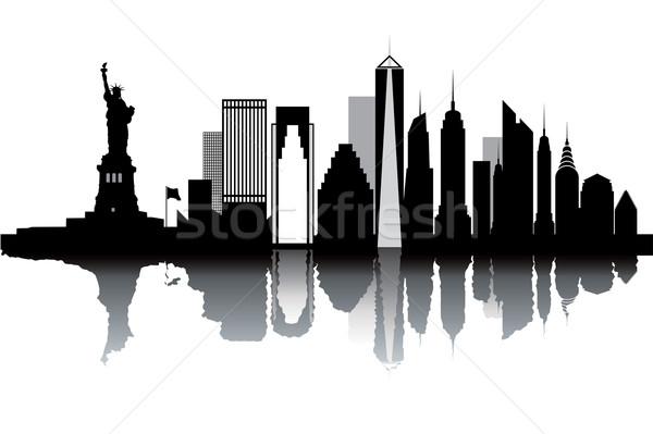 New York skyline zwart wit business water papier Stockfoto © ojal