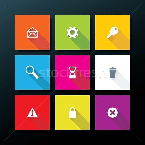 Stok fotoğraf: Vektör · web · simgesi · ayarlamak · bilgisayar · telefon · harita