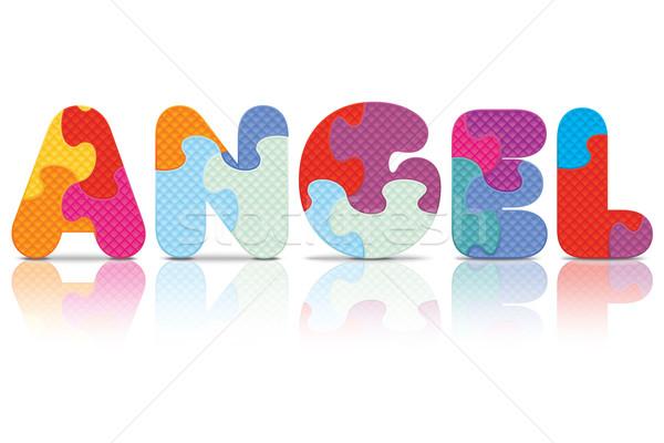 Vecteur ange écrit alphabet puzzle amour Photo stock © ojal