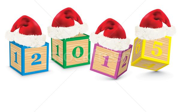 2015 építőkockák karácsony sapkák iskola gyerekek Stock fotó © ojal