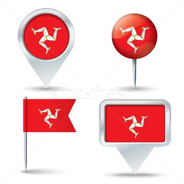 Map pins with flag of Isle of Man Stock photo © ojal