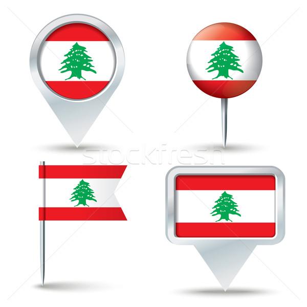 ストックフォト: 地図 · フラグ · レバノン · ビジネス · 道路 · 白