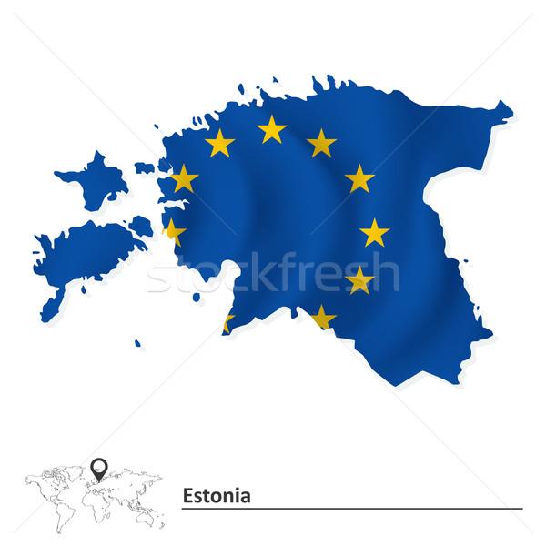 地図 エストニア ヨーロッパの 組合 フラグ 世界 ストックフォト © ojal