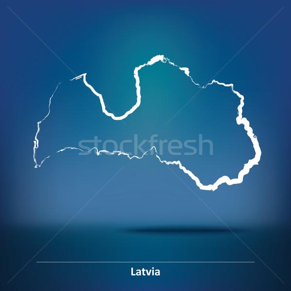 Doodle kaart Letland ontwerp teken reizen Stockfoto © ojal