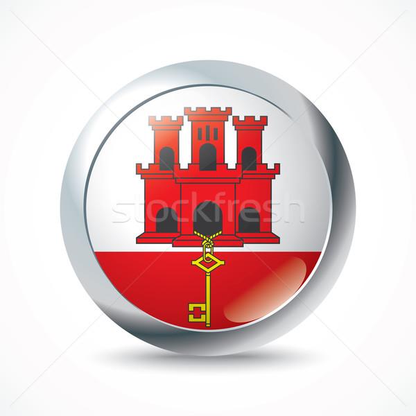 Gibraltar banderą przycisk podróży sylwetka biały Zdjęcia stock © ojal