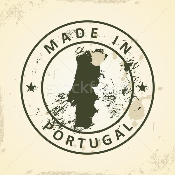 Stempel kaart Portugal grunge wereld reizen Stockfoto © ojal