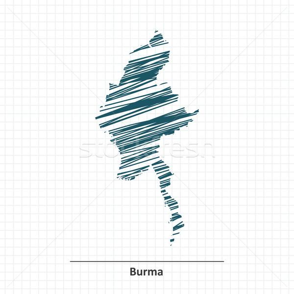 Doodle schets birma kaart witte land Stockfoto © ojal